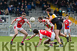 Brendan O'Keeffe and George O'Keeffe Rathmore in action against Eoin Brosnan Dr Crokes in the O'Donoghue Cup Final at Fitzgerald Stadium on Sunday.