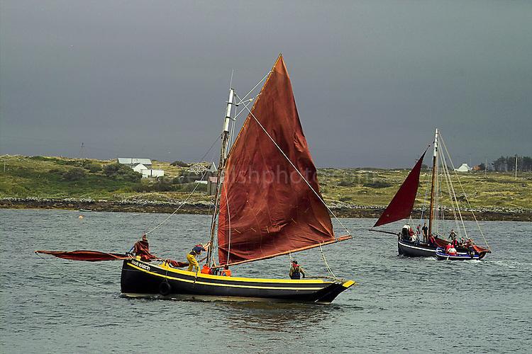 Roundstone Regatta - traditional Irish fishing boats preparing to Race, July 2004