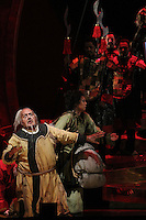 Seattle Opera Turandot Gold Cast Dress. Lina Tetriani (Liu)and Peter Rose (Timur).