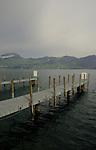 Jetties jutting on to the lake. Stätter See. Beckenried. Luzern area, Switzerland.