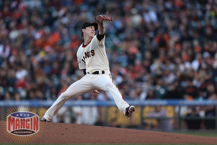 SAN FRANCISCO, CA - APRIL 20:  Tim Lincecum #55 of the San Francisco Giants pitches against the San Diego Padres during the game at AT&T Park on Saturday, April 20, 2013 in San Francisco, California. Photo by Brad Mangin