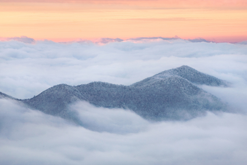 """CLOUD WORLD"" - A sunrise view above the clouds in Great Smoky Mountains National Park. The elevation was around 6000' when I photographed this."