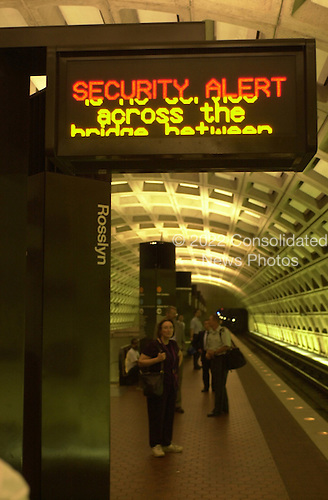 Washington, DC - September 11, 2001 -- Sign in the Washington Metro system detailing the security alert following the terrorist bombing at the Pentagon on Tuesday, September 11, 2001..Credit: Ron Sachs / CNP