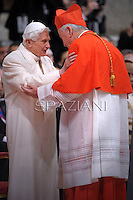 British cardinal Vincent Gerard Nichols  is congratulated by Pope emeritus Benedict XVI  after he was appointed cardinal by the Pope at the consistory in the St. Peter's Basilica at the Vatican on February 22, 2014.