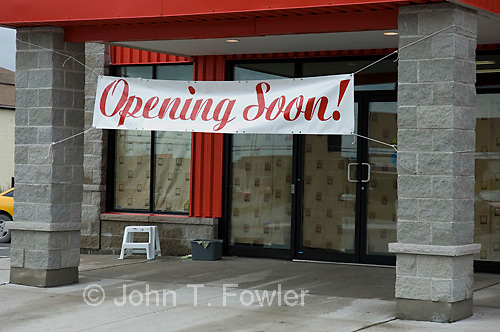 New store, opening signs, opening soon, advertising, furniture store<br />