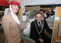 NO FEE PICTURES 25/1/13 Lord Mayor of Dublin Naoise ?ì Muir?? with Aurelie Timmasino at the Holiday World Show at the RDS, Dublin. Picture:Arthur Carron/Collins