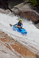"""Kayaker on Silver Creek 1"" - This kayaker was photographed on Silver Creek - South Fork, near Icehouse Reservoir, CA."