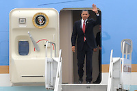 ATLANTA, GA - AUG 2, 2010: President Barack Obama exits Air Force One at Dobbins Air Reserve Base in Marietta, Georgia where he was greeted by Gov. Sonny Perdue, Congressman John Lewis and Mayor Kasim Reed. The commander-in-chief is in town to give a speech to the Disabled Veterans of America Conference and to deliver remarks at a Democratic National Committee fundraiser in downtown Atlanta. Obama is scheduled to depart this afternoon from Dobbins and return to Washington, D.C.