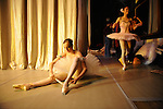 Joy Womack, an American student at the Moscow State Academy of Choreography, the main school feeding dancers to the Bolshoi Ballet and one of the top ballet schools in the world, prepared in the wings for at an end of term performance. Moscow, Russia, December 10, 2009