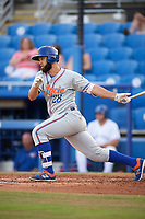 St. Lucie Mets designated hitter Wuilmer Becerra (28) at bat during a game against the Dunedin Blue Jays on April 19, 2017 at Florida Auto Exchange Stadium in Dunedin, Florida.  Dunedin defeated St. Lucie 9-1.  (Mike Janes/Four Seam Images)