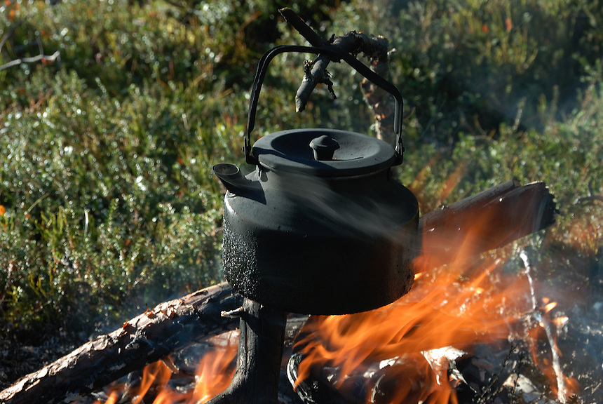 Cofee kettle over fire