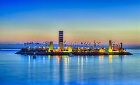 Thums Island White Long Beach; CA; City; Cityscape; Skyline; Sunset; Dusk; Architectural; Office Buildings; Building; California; USA