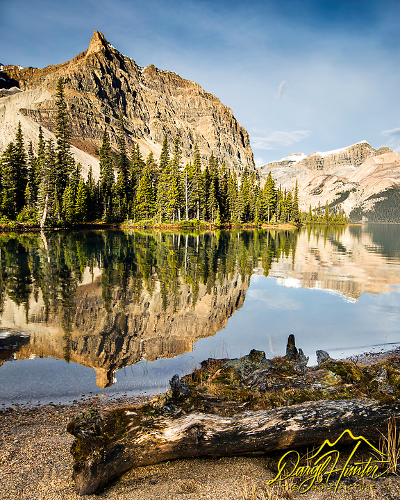 Crowfoot Mountain reflecting upon the still waters of Bow Lake in Banff National Park.