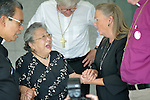 Koko Kondo (second from left), a survivor of the 1945 atom bombing of Hiroshima, Japan, talks with Bishop Mary Ann Swenson (right) and other church leaders on August 7 in Hiroshima. Swenson, a United Methodist from the U.S., is vice moderator of the World Council of Churches Central Committee, and is leading a delegation of church leaders from around the world who have come to see for themselves the suffering caused by the bomb, to listen to the survivors and to local church leaders, and to return home recommitted to advocating for an end to nuclear weapons. Kondo is a well-known hibakusha, or atom bomb survivor, who along with her father is mentioned in John Hershey's landmark book about the horror of Hiroshima.