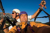 Saint Vincent-les-Forts, Lac de Serre Poncon, France, September 2007. Instructor and owner of Inferno paragliding, takes photographer Frits Meyst for a tandem flight. Volantis is home to the paragliding school Inferno. In one week time, students learn to fly the paraglider and earn their mountain licence 1. Photo by Frits Meyst/Adventure4ever.com