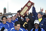 3 December 2006: UCSB players and staff celebrate with the NCAA Championship trophy. California-Santa Barbara defeated California-Los Angeles 2-1 at Robert R. Hermann Stadium in St. Louis, Missouri in the NCAA men's college soccer tournament final game to win the 2006 NCAA Championship.