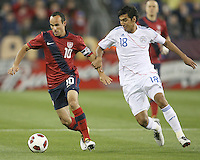 Landon Donavon(10) of the USA MNT moves the ball away from Marcelo Alejandro Estigambia(18) of Paraguay during an international friendly match at LP Field, in Nashville, TN. on March 29, 2011.Paraguay won 1-0.