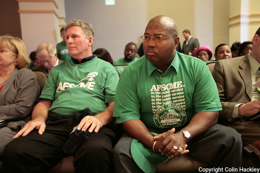 TALLAHASSEE, FL.3/17/09-AFSCME-CH-Cecil Copelin of Gainesville Local 3030, right, and Harry Pike, Polk County School Board local 2777, AFSCME listen during the Senate Ways and Means Policy Committee Lobby Day Tuesday at the Capitol in Tallahassee...COLIN HACKLEY PHOTO FOR AFSCME