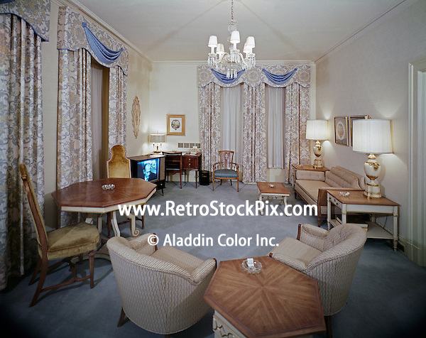 Luxury living room of the Bellevue Stratford Hotel.