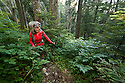 WA11064-00...WASHINGTON - Vicky Spring hiking the brushy Three Fingers Trail in the Boulder River Wilderness, Mount Baker-Snoqualmie National Forest. (MR# S1)
