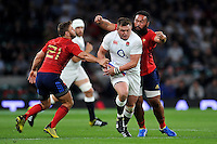 David Wilson of England takes on the France defence. QBE International match between England and France on August 15, 2015 at Twickenham Stadium in London, England. Photo by: Patrick Khachfe / Onside Images