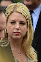 Attorney General Pam Bondi (Republican of Florida) makes remarks to the media as she departs the United States Supreme Court Building in Washington, D.C. following the third and final day of oral arguments concerning the constitutionality of the Patient Protection and Affordable Care Act on Wednesday, March 28, 2012.  .Credit: Ron Sachs / CNP /MediaPunch