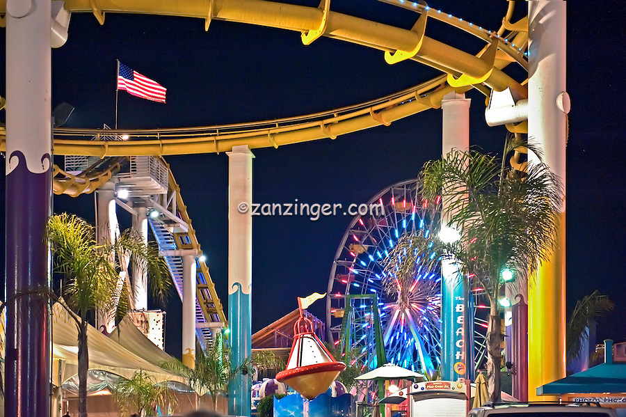 Santa Monica CA, Santa Monica Pier, Pacific Park, Pier, Night Lit, Amusements, Roller Coaster, Ferris Wheel, Over Water, mix of stores, restaurants, Beautiful