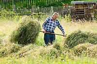 Vernerovice, Giant Mountains, Northern Bohemia, Czech Republic, June 2010. A farmer collects the hay in the summer. The area around Teplice, also known as the Broumovsky Steny, was inhabited by ethnic Sudeten Germans, that were deported after the Second World War. The rural landscape with green fields and cattle is dotted with little villages scarred by communist socialist architecture. Photo by Frits Meyst/Adventure4ever.com
