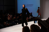 Model on the catwalk wearing creation by Liv Lindberg (Danmarks Designskole). &quot;Designers Nest Show and Award&quot; at the fashion fair &quot;CPH Vision&quot; in Oksnehallen. Copenhagen Fashion Week.<br /> February 2009.<br /> Only for editorial use.