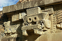 Head of rain god Tlaloc, at ruins of Quetzalcoatl temple or pyramid , Teotihuacan culture, Mexico.