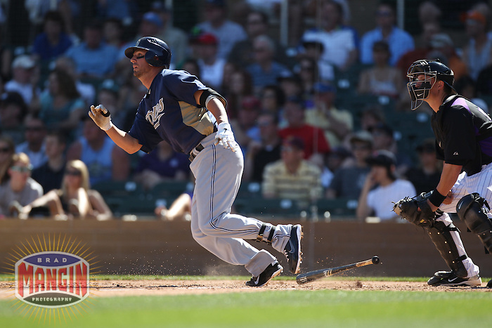 SCOTTSDALE, AZ - MARCH 12:  Kevin Frandsen of the San Diego Padres bats during the spring training game between the San Diego Padres  and the Colorado Rockies on March 12, 2011 at Salt River Fields at Talking Stick in Scottsdale, Arizona. Photo by Brad Mangin