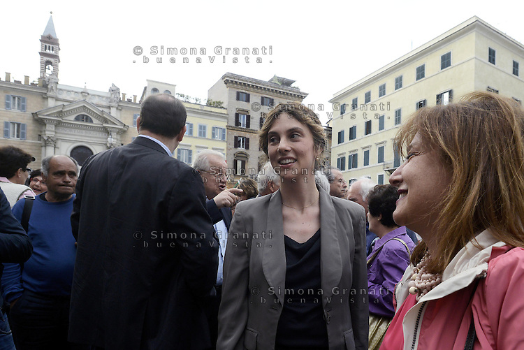 Roma, 27 Maggio 2014<br /> Piazza Farnese<br /> Festa del Pd con le elette e gli eletti alle elezioni Europee.<br /> Nella foto Marianna Madia, Ministra del Governo Renzi.<br /> Event of Democratic Party after the European elections.