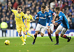 Rangers v St Johnstone&hellip;26.10.16..  Ibrox   SPFL<br />Danny Swanson is closed down by Harry Forrester and Andy Halliday<br />Picture by Graeme Hart.<br />Copyright Perthshire Picture Agency<br />Tel: 01738 623350  Mobile: 07990 594431