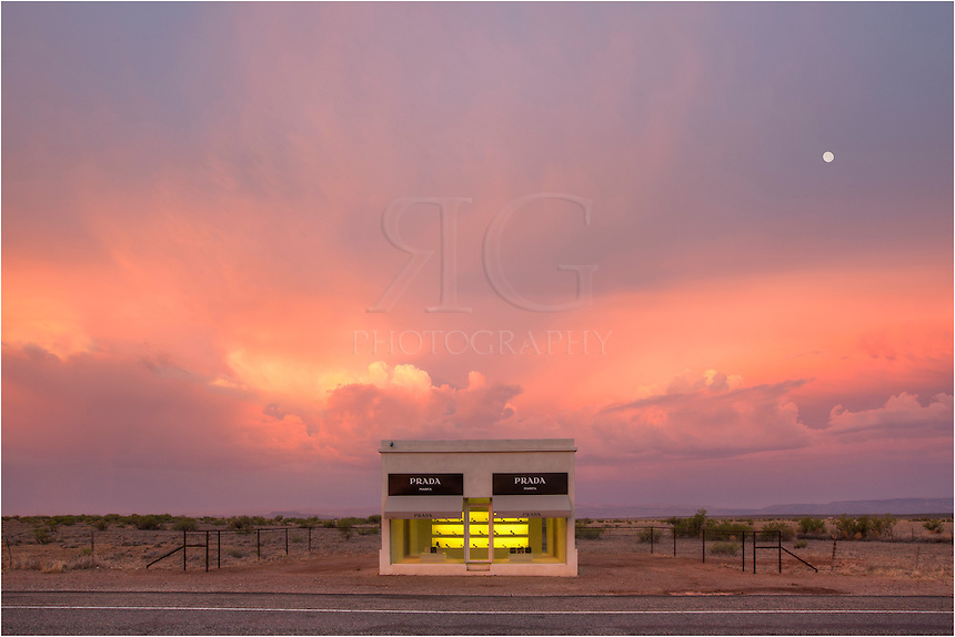 Marfa prada sits in the morning light as early morning for Adobe construction cost