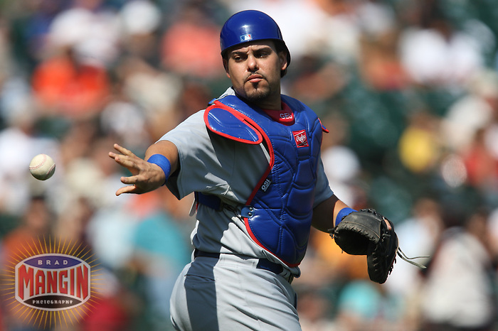 SAN FRANCISCO - SEPTEMBER 26:  Geovany Soto #18 of the Chicago Cubs works behind the pate against the San Francisco Giants during the game at AT&T Park on September 26, 2009 in San Francisco, California. Photo by Brad Mangin