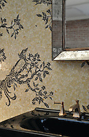 Birds and Branches, a hand cut jewel glass mosaic backsplash, is shown in Obsidian, Quartz, and Agate.