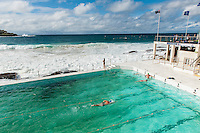 Australia, Sydney, Bondi Beach..The Bondi Icebergs Winter Swimming Club. Founded in 1929 and very famous sea water swimming pool. Stays open during the winter and from there you have a stunning view over the beach and the ocean...Photo Kees Metselaar