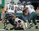 Seattle Seahawks middle linebacker Bobby Wagner #54 sacks Philadelphia Eagles Quarterback Carson Wentz #11<br /> at CenturyLink Field in Seattle, Washington on November 20, 2016.  Seahawks beat the Eagles 26-15.  &copy;2016. Jim Bryant Photo. All Rights Reserved.