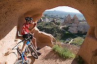 Cappadocia, Nevsehir, Turkey, May 2010. Mountainbikers ride the trails through Rose Valley and Red Valley between Goreme and Cavusin. The fairy landscape of Goreme National Park is unique in its kind. Millions of years long, wind and water sculpted the tuffstone into spectacular rock formations.  Photo by Frits Meyst / MeystPhoto.com