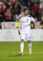13 April 2011: Los Angeles Galaxy forward Juan Pablo Angel #9 in action during an MLS game between Los Angeles Galaxy and the Toronto FC at BMO Field in Toronto, Ontario Canada..The game ended in a 0-0 draw.