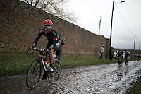 Scott Thwaites (GBR/Bora-Argon18) riding strong over the wet cobbles<br /> <br /> GP Samyn 2016