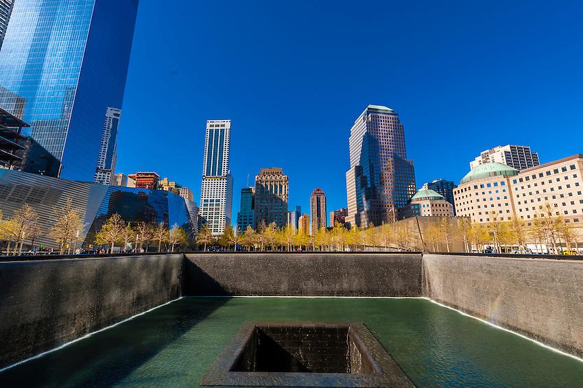 Reflecting pool, National September 11 Memorial & Museum, New York, New York USA.