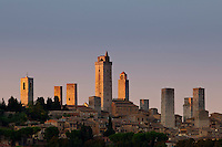 Aerial view of the quaint medieval town of San Gimignano and its famous towers in Tuscany, Italy