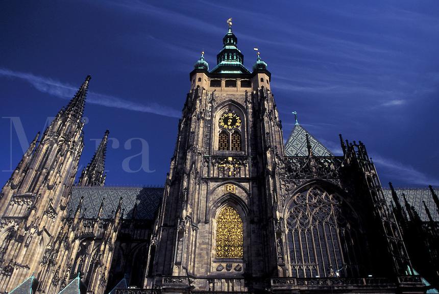 Prague Castle, Prague, church, Czech Republic, Praha, Central Bohemia, Europe, St. Vitus Cathedral at Prague Castle.