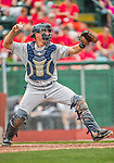 9 July 2015: Mahoning Valley Scrappers catcher Daniel Salters in action against the Vermont Lake Monsters at Centennial Field in Burlington, Vermont. The Scrappers defeated the Lake Monsters 8-4 in 12 innings of NY Penn League play. Mandatory Credit: Ed Wolfstein Photo *** RAW Image File Available ****