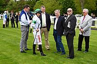 Jockey Josephine Gordon talks to connections of Gaelic Spirit  during Afternoon Racing at Salisbury Racecourse on 18th May 2017