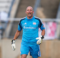Matt Reis (1) of the New England Revolution yells at a referee during the quarterfinals of the US Open Cup at the Maryland SoccerPlex in Boyds, Md.  D.C. United defeated the New England Revolution, 3-1.