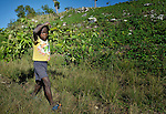 A boy carries cut brush in the countryside near Despagne, an isolated village in southern Haiti where the Lutheran World Federation has been working with residents to improve their quality of life.