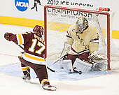 Mike Seidel (Duluth - 17), Parker Milner (BC - 35) - The Boston College Eagles defeated the University of Minnesota Duluth Bulldogs 4-0 to win the NCAA Northeast Regional on Sunday, March 25, 2012, at the DCU Center in Worcester, Massachusetts.