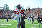 Arkansas cornerback Will Hines (9) is called for pass interference against Ole Miss wide receiver Donte Moncrief (12) at War Memorial Stadium in Little Rock, Ark. on Saturday, October 27, 2012. Ole Miss won 30-27...